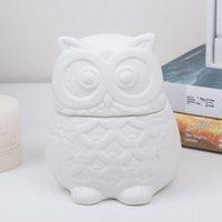 Wholesale Cute doll saving box for christmas gift ceramic owl cartoon money box for home decoration storage box rectangle jar xmas gift