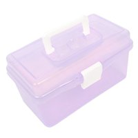Wholesale Plastic Handle Layer Hardware Tools Storage Box Clear Purple