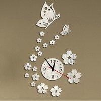 Wholesale new hot acrylic clocks watch wall clock modern design d crystal mirror watches home decoration living room