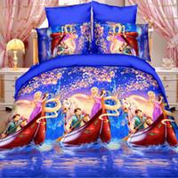 Wholesale Home textiles New style camellia design D bedding set of duvet cover bed sheet pillowcase Queen size