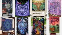 Wholesale Hot Hippy Mandala Tapestry Bohemian Elephant Wall Hanging Psychedelic Wall Art Dorm Decor Beach Throw Indian Wall Tapestries styles