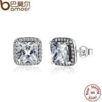 asscher cut earrings - BAMOER Sterling Silver Asscher Cut CZ Zirconia Small Stud Earrings In Women Earrings Jewelry PAS458