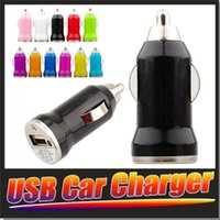 Wholesale For Iphone7 USB Car Charger Colorful Bullet Mini Car Charge Portable Charger Universal Adapter For Iphone S Pieces DHL