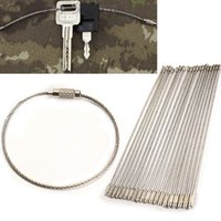 Wholesale 20PCS Stainless Steel mm Wire Keychain Cable Key Ring for Outdoor Hiking MGO3