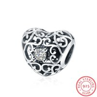 Wholesale 925 Sterling Silver Love Charm With Clear CZ White Crystal Charms Openwork Fit Original Bracelet Women Pendant DIY Jewelry