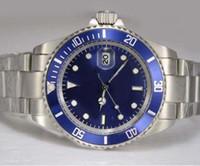 al por mayor bisel azul-Venta al por mayor - los nuevos relojes inoxidables inoxidables de la corona interna del bisel mecánico de lujo del reloj miran los relojes inoxidables inoxidables del reloj del mens de la plata de la fecha de dial
