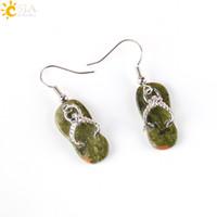 Wholesale CSJA Novelty Slipper Shoes Natural Stone Gem Bead Pendant Hook Dangle Earrings Summer Beach Jewelry Women Girls Lovely Gift E164 A
