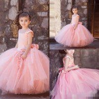 big red cupcakes - 2017 Cupcake Pink Tulle Flower Girl Dresses For Weddings Square Neck Big Bow Sash Long Little Kids Child Girls Pageant Party Gowns Cheap
