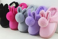 Wholesale Children s cotton slippers winter candy color cartoon Rabbit anti slip slippers Warm soft comfortable and lightweight