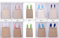 Wholesale 2017 hot sale Easter Bunny Ears Bag Easter Celebration Gift tote Easter Burlap Bunny Baskets colors