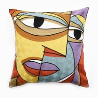 Wholesale FULL EMBROIDERY Chain Embroidered quot High End Picasso Abstract Paintings Cushion Cover Throw Embroidered Pillow Case ColorF