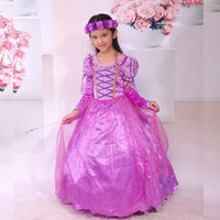 Winter Mid-Calf Cotton Baby Girls Dress Long Hair Princess Purple Tangled Rapunzel dress Sofia the First bubble skirt Party Full Dress for Birthday GD16