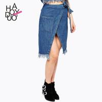 La nueva primavera de Haoduoyi 2017 europeos y americanos de moda cruce de orillo áspero con las faldas de mezclilla empate arco