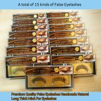 Wholesale High Quality False Eyelashes Handmade Natural Long Thick Mink Fur Eyelashes Soft Fake Eye Lash extensions Black Terrier Full Strip Lashes