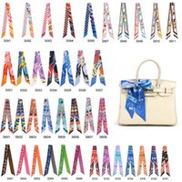 Wholesale mixcolors colorful fashion twilly scarf handbag handle decoration accessories handbag twilly brand bow hair bands scarves