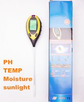 Wholesale in Digital pH Meter measure Soil PH Temperature Moisture Sunlight tester Value Instrument Garden Plant with backlight