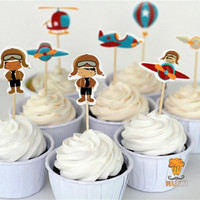 airplane cake decoration - Retro Airplane cake toppers party cupcake picks cases hot air balloon kids birthday party decoration baby shower candy bar