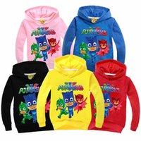 Wholesale PJ Masks Hoodies New Children Big Boys Girls Cotton Cartoon Top Sweatshirts Spring Baby Kids Full Clothes PX H21