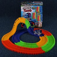 Wholesale Magic Tracks Bend Flex Racetrack for Kids Amazing Race Track Children Railcar LED Light Up Car Grows In The Dark DHL