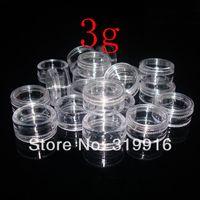 Acheter Ongles glitter pots-De haute qualité 3g X 100 vide vide en plastique transparent Pots conteneurs pour l'art d'ongle Make Up cosmétiques Craft Glitter, petites bouteilles d'échantillons