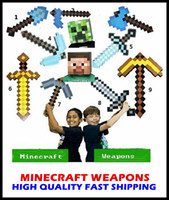 Wholesale Christmas gift for kids collocation Newest Design Game Toy Diamond Sword Minecraft Foam Mosaic Sword Pickaxe Hamaxe EMS