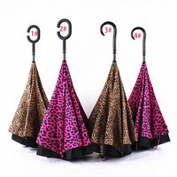Wholesale Leopard Stripe Inverted Umbrellas C shape J shape Handle Waterproof Double Layer Reverse Car Umbrella Paraguas Rain Umbrella XL A101