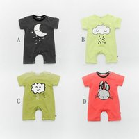 Boy baby boy s jeans - Summer models baby conjoined clothes cartoon cloud modeling short sleeved jeans children s cotton baby climbing clothes