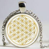 Wholesale 1pcs Fashion Mandala FLOWER OF LIFE gold Classic Round pendant glass cabochon necklace Fine Jewelry