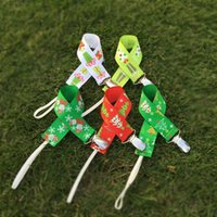 Wholesale Pre order Christmas Pacifier Clip Blanks Polyester Ribbon Kids Pacifier Chain Tree and Present Holder Clip in Colors DOM106407