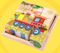 Wholesale Six Direction Drawing Wooden D Stereoscopic Building Blocks Puzzle Train Brain Early Childhood Education For Children