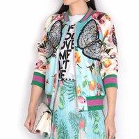 basic butterfly - 2016 Autumn Runway Luxury Brand Designer Satin Bomber Jacket Women Basic Coats Bee Butterfly Embroidery Baseball Jackets Outwear