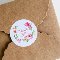 Wholesale 1000PCS cm Flower design sticker labels Creative Paper stickers Thank You Sticker Seals labels for gifts