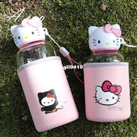 Wholesale 15 cm ml Japan creative Hello Kitty glass ms man portable water glass cup lovely student movement