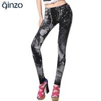 Wholesale Women s print jeans rhinestone sexy beauty painted pattern denim long trousers slim skinny pencil pants