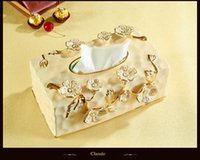 Wholesale 2016 Promotion Real No Room High grade Ivory Porcelain Paper Box Ceramic Tissue Pumping Napkins European Royal Retro Luxury Table Ornaments
