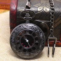 Collar de cadena larga P427C del reloj de bolsillo noble clásico retro negro liso negro retro del vintage de la antigüedad del bronce del vintage