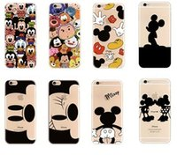 achat en gros de téléphones cellulaires design-Hot sale cell phone case ultra mince soft shell designer mignon mickey cartoon impression tpu étui pour iphone 7 7s plus 6 6s plus