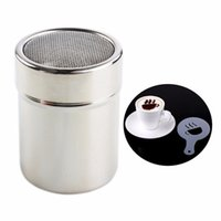 Wholesale FoodyMine Stainless Steel Chocolate Shaker Cocoa Flour Coffee Sifter Coffee Stencils Template Strew Pad Duster Spray