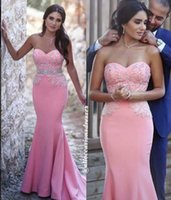 Wholesale Pink Mermaid Arabic Evening Dresses Sweetheart Beaded Crystals Satin Prom Dresses Sexy Cheap Formal Party Gowns