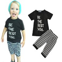 best sleeve stripe shirt - boy clothing sets letter the best you t shirt stripe pants baby clothes summer fashion short sleeve boys clothing set