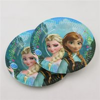 baby shower dishes - Kids Favors Plates Elsa Anna Cartoon Princess Paper Dishes Decoration Birthday Party Baby Shower Tableware Supplies