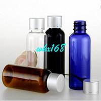 Yes aluminum cobalt - 50PCS ml Plastic Empty Emulsion Bottle Cobalt Blue Amber Bottle Round Shoulder PET Bottle With Aluminum Anodized Cover Cap