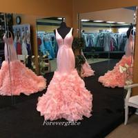 al por mayor niñas de color rosa vestidos del tamaño 12-Las muchachas profundas atractivas del Organza de la sirena del vestido del baile de fin de curso del color de rosa del cuello de V sirven el vestido de partido barato de la ocasión especial