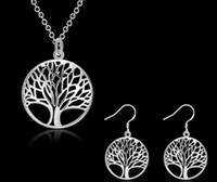 Hot Fashion Women 925 en argent sterling plaqué Life Of Tree Charm Pendentif Collier Boucles d'oreilles nuptiale Jewellery