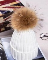 Wholesale 2016 warm and thick winter wool knit hat women fashion CM raccoon fur ball wool hat