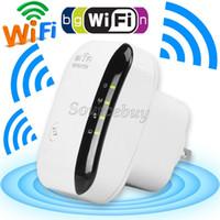 achat en gros de wifi gratuit amplificateur de signal-Nouveau Répéteur Wifi 300Mbps 802.11 Wireless-N Amplificateur de signal de signal amplificateur de signal Internet Routeur Booster US UK AU EU Plug Livraison gratuite