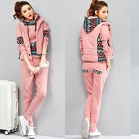 Wholesale 2016 autumn and winter new velvet thickening casual women s large size sweater three piece sportswear suits