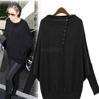 Wholesale Fashion Women Batwing Sleeve Oversized Knit Sweater Loose Jumper Pullover Tops