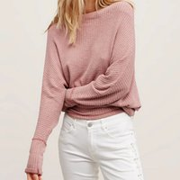 Wholesale Autumn Off Shoulder Pullover Sweater Solid Color Slash Neck Bat Sleeve Casual Loose Sweaters pull femme ropa mujer DDOM6027