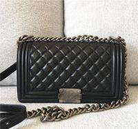 Wholesale Top quality caviar real cowhide Fashion Women Crossbody Handbag Cover Plaid Chain Ladies Shoulder Bags Classic le Messenger boy Bags cm